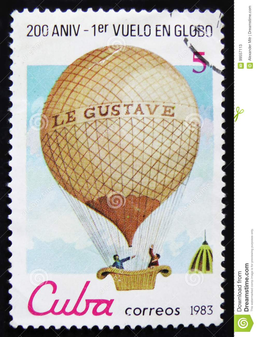 Cuba postage stamp shows Montgolfier balloon `Le Gustave`, series `Bicentenary of the 1st Manned Balloon Flight`, circa 1983