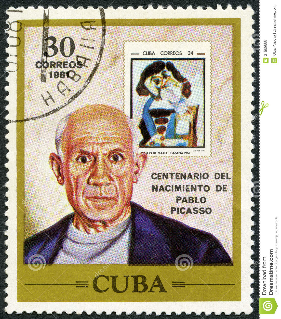 CUBA - 1981: shows Pablo Picasso (1881-1973), artist, birth centenary, and postage stamp shows The Man with the Pipe, by Picasso