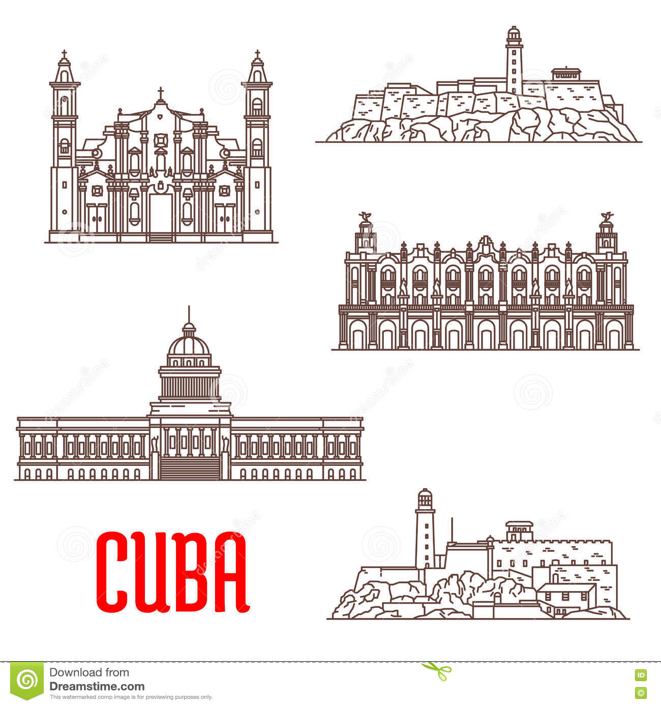 Cuba tourist architecture, travel attraction icons