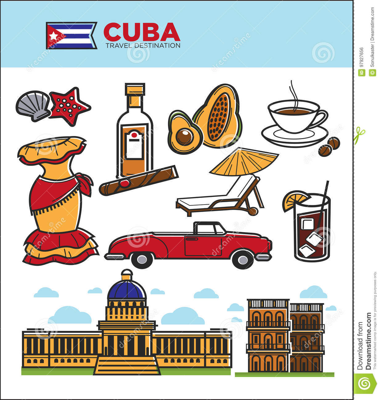 Cuba Travel Landmarks Symbols And Tourist Sightseeing Vector Icons