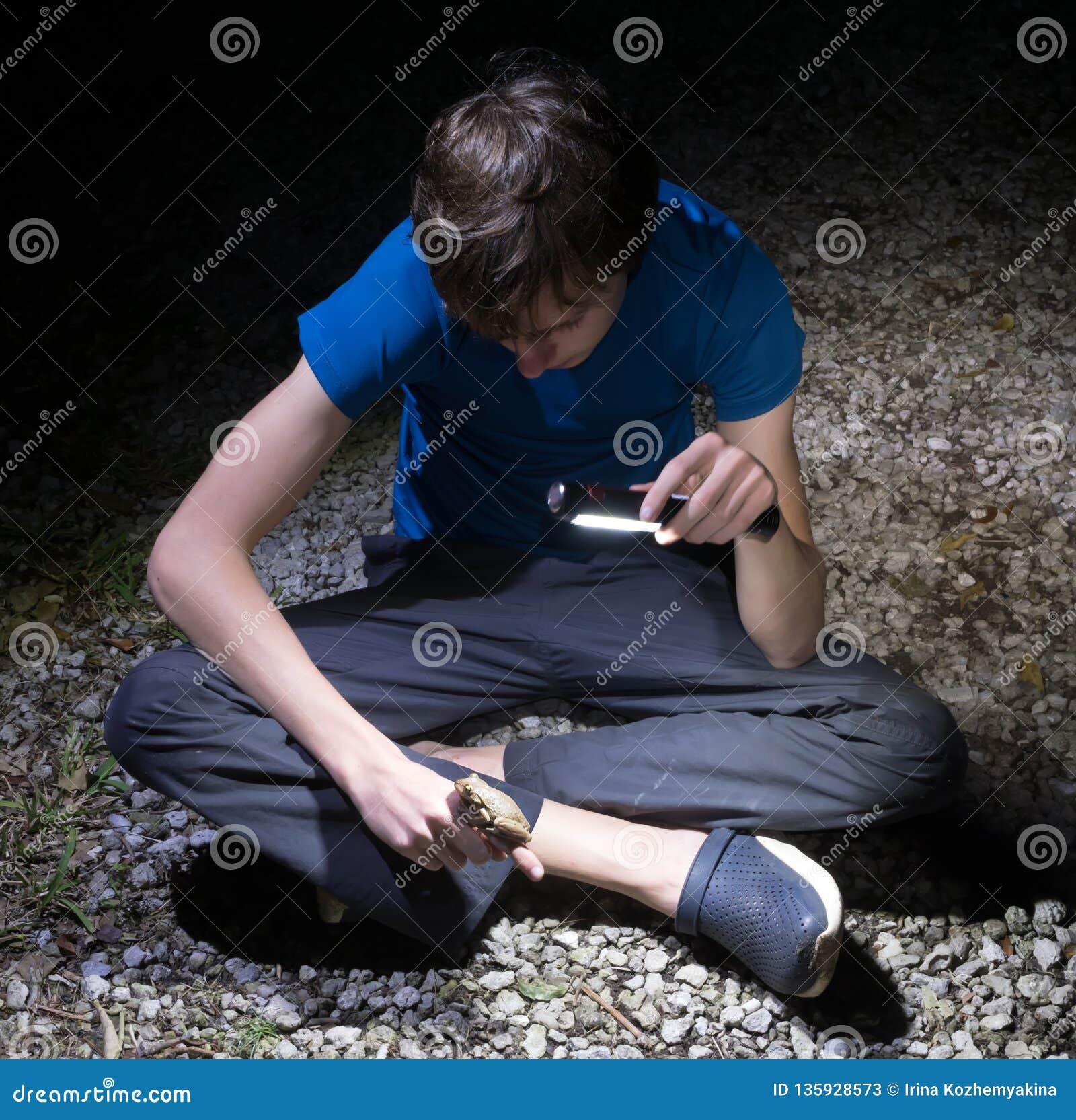 Cubaanse septentrionalis van Treefrog Osteopilus De jongen glanst een flitslicht en bekijkt de kikker, die op zijn hand zit nacht