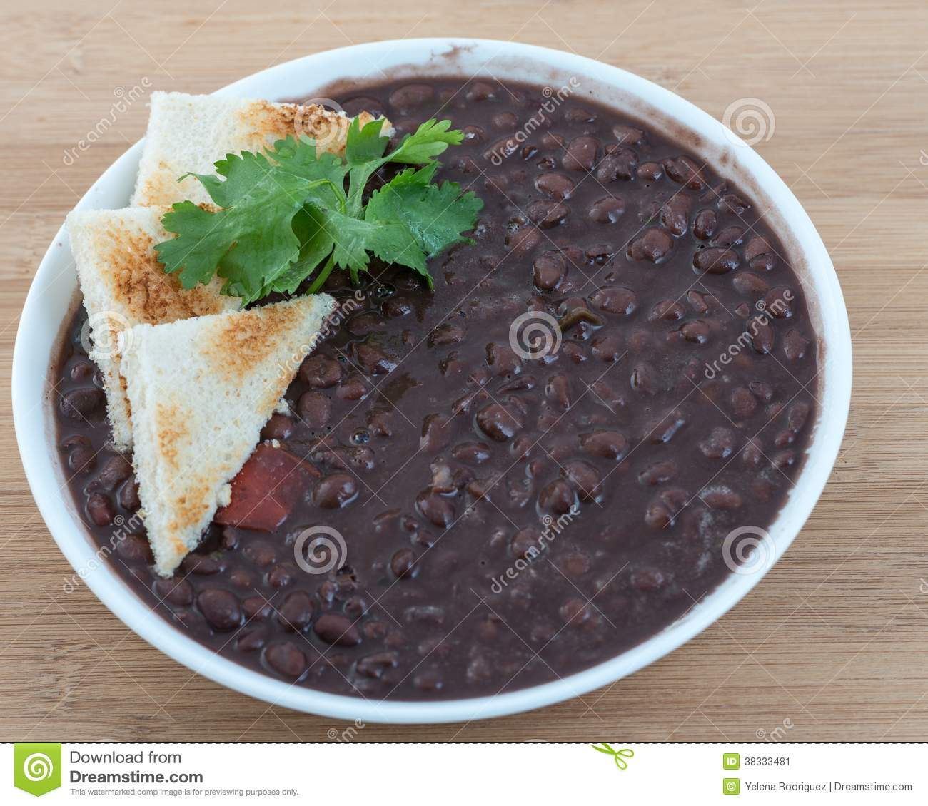 Delicious soup of black beans served the Cuban way. Traditional Cuban ...