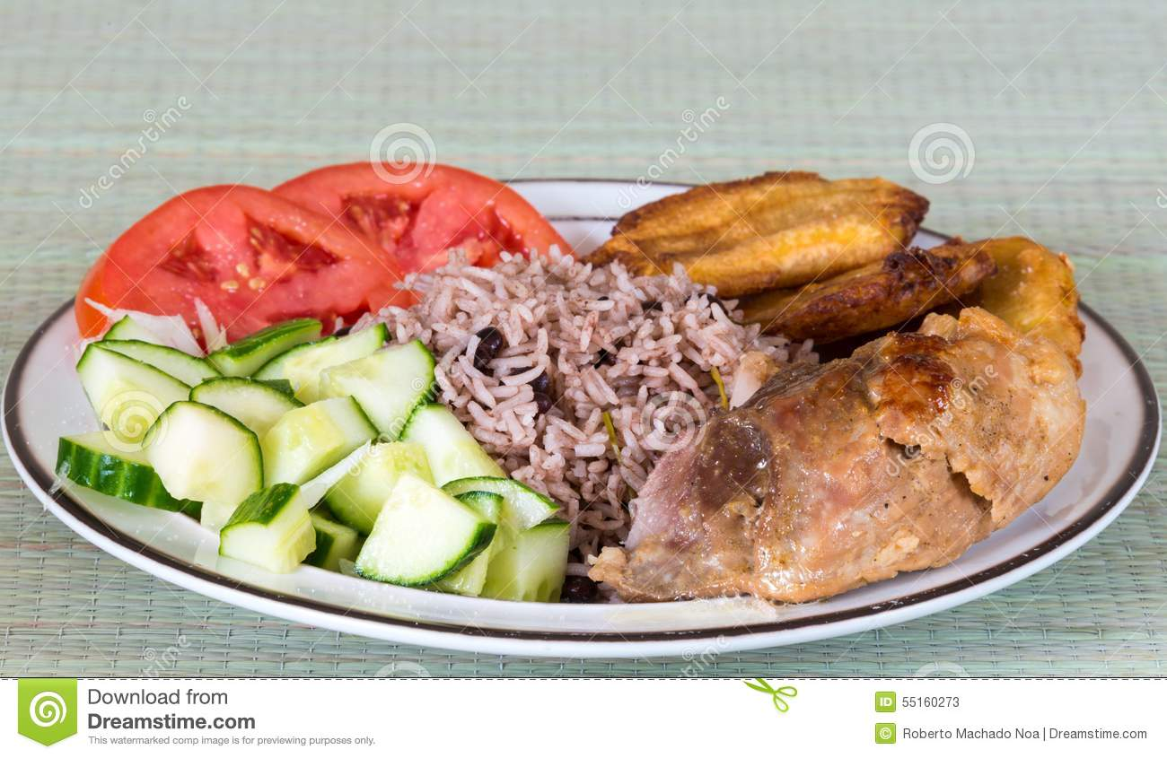 Cuban cuisine traditional creole meal stock photo image for Authentic cajun cuisine