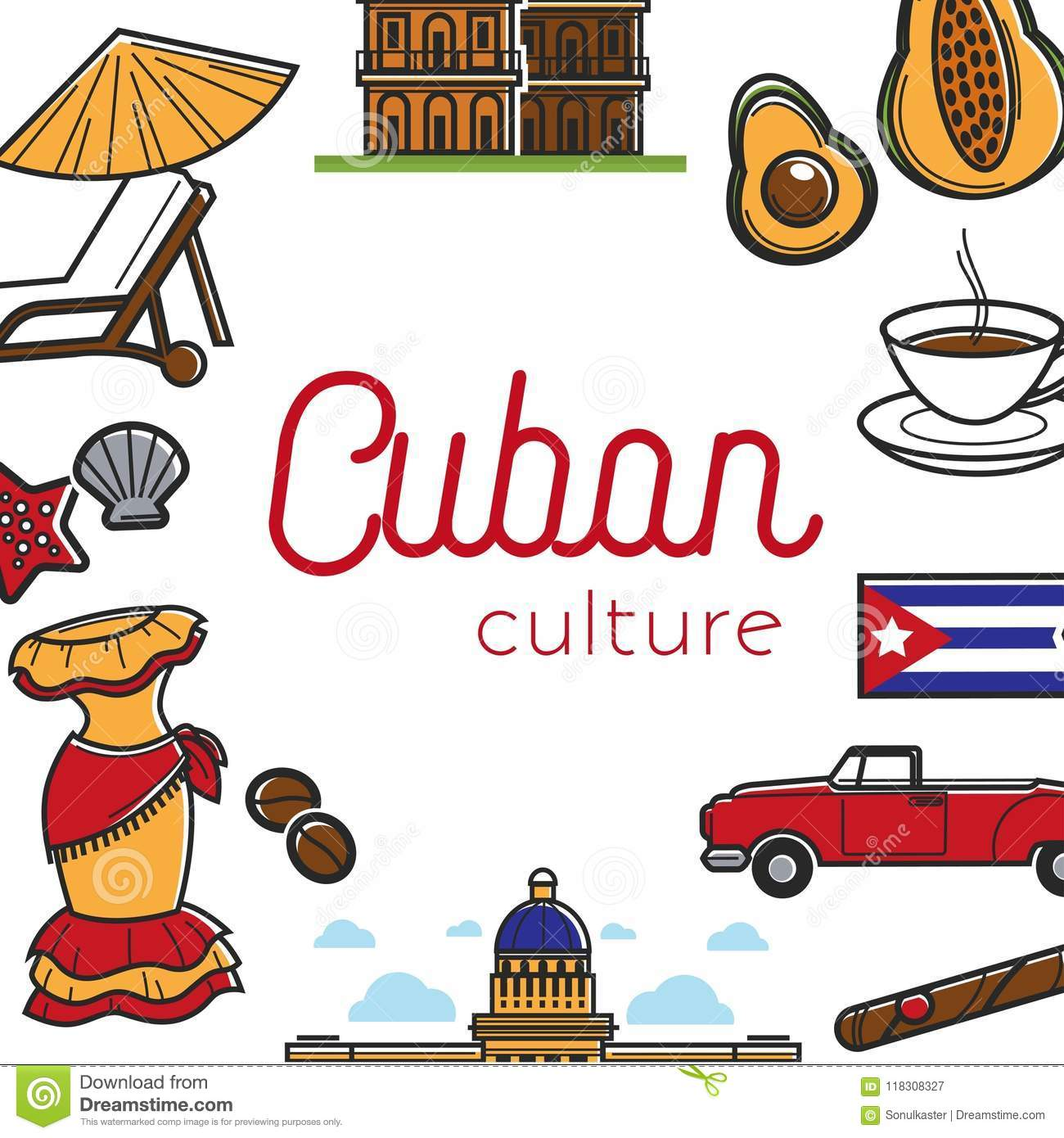 Cuban Culture Promo Banner With National Symbols Set Stock Vector
