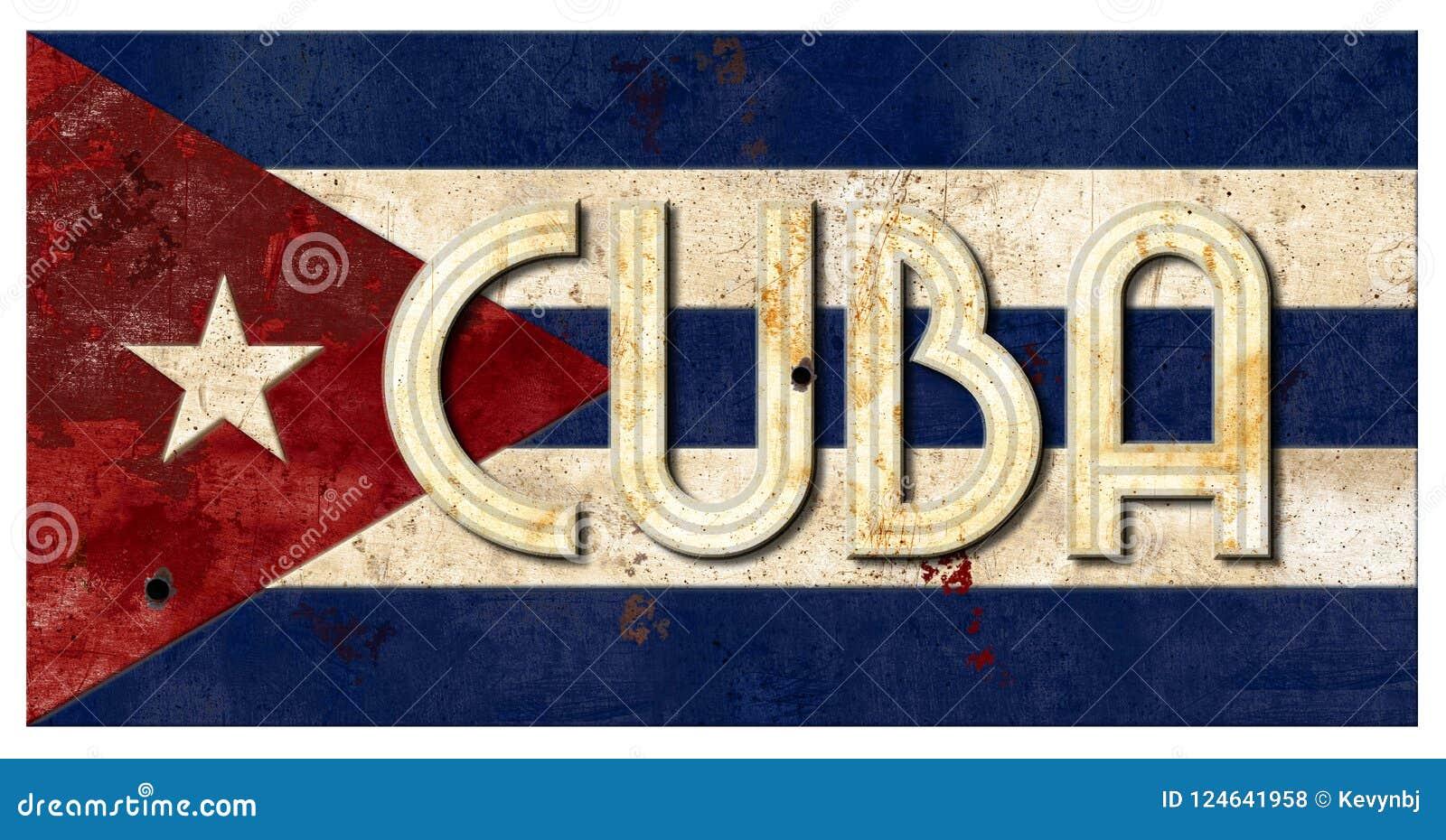 Cuban Flag Grunge Cuba Lettering Metal Old Rustic Vingage