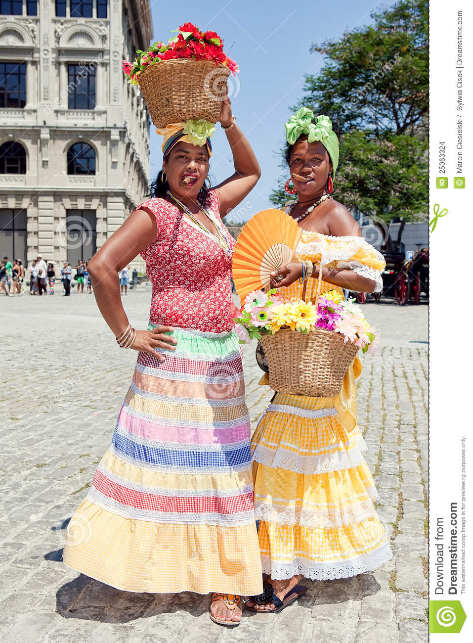 Cuban women wearing traditional dresses editorial stock for Traditional photos