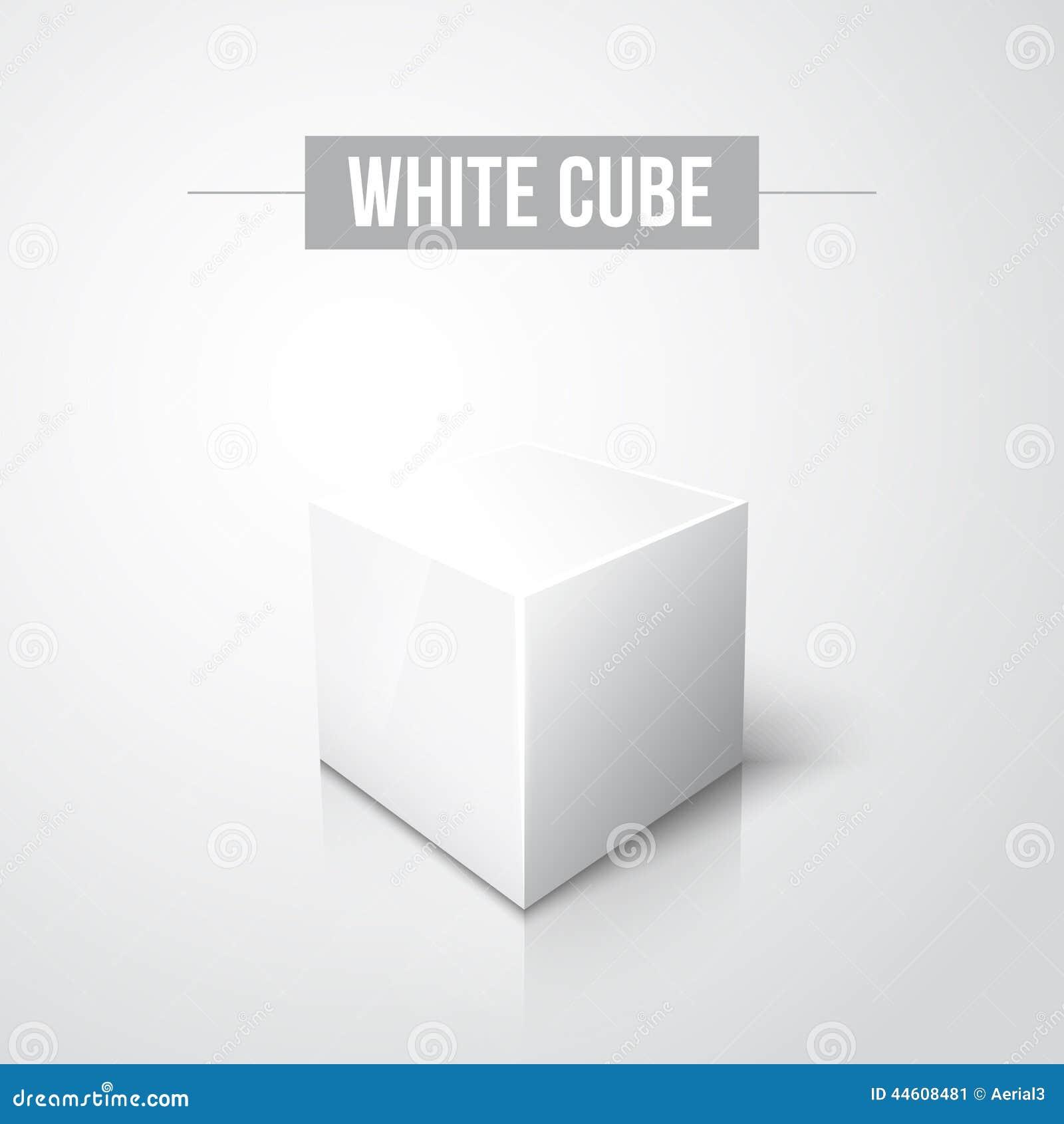 cube blanc sur le fond blanc avec la r flexion illustration de vecteur image 44608481. Black Bedroom Furniture Sets. Home Design Ideas