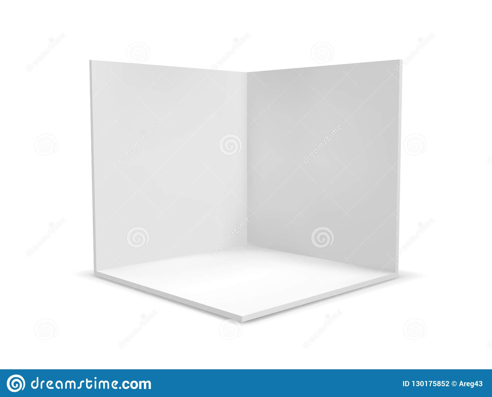 Cube box or corner room interior cross section. Vector white empty geometric square 3D blank box