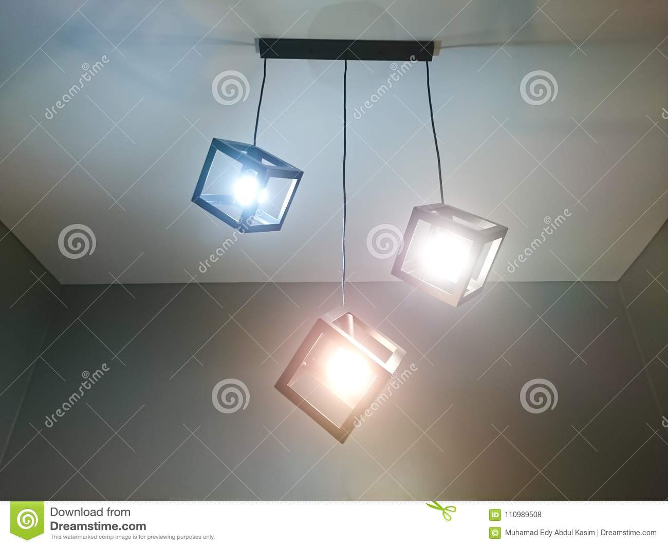 Cube Down Light Stock Photo Image Of Empty Retro Green 110989508 Installing Ceiling Wiring A Set Design Install On House