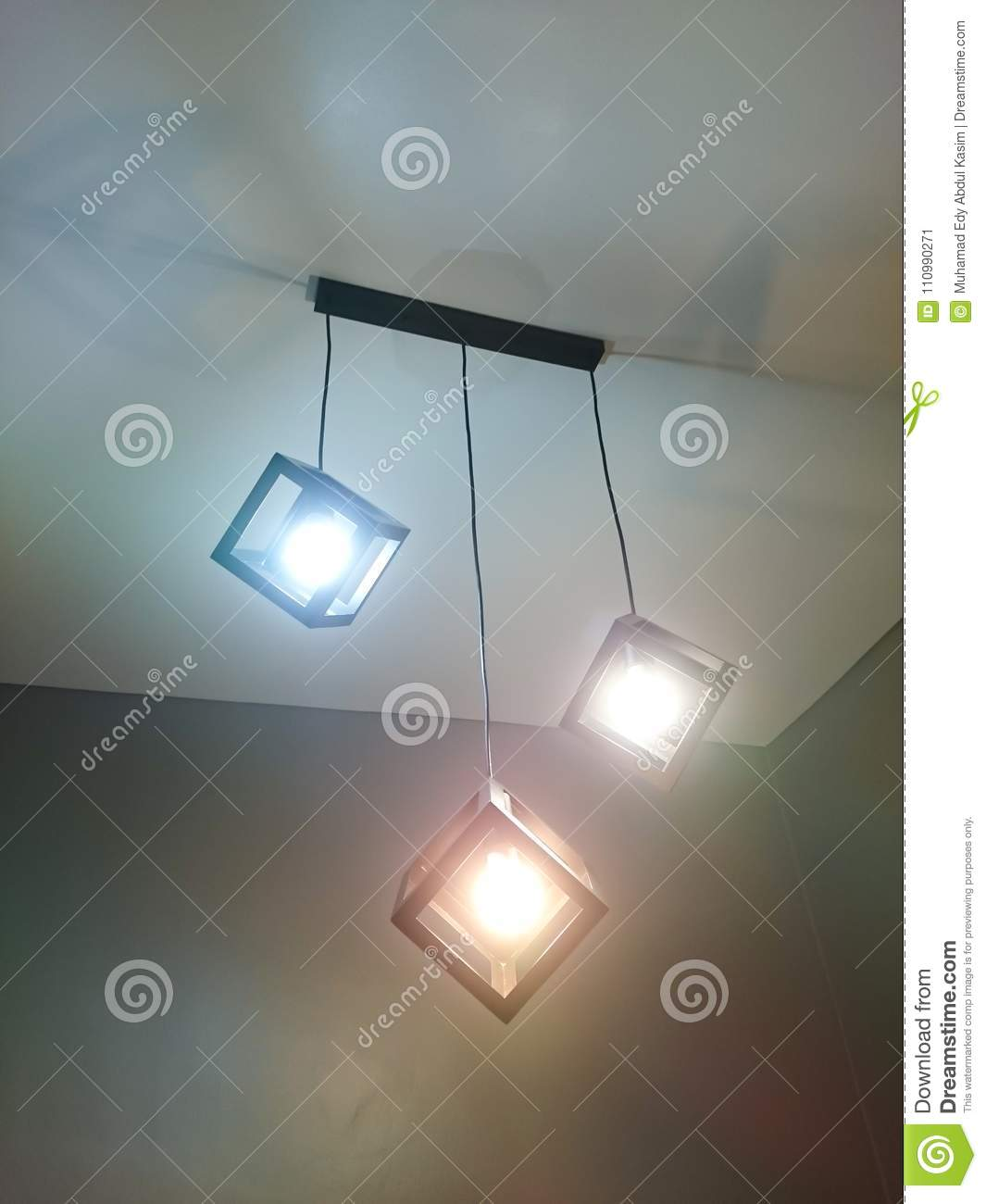 Cube Down Light Stock Image Of Empty Bright 110990271 Installing Ceiling Wiring A Set Design Install On House