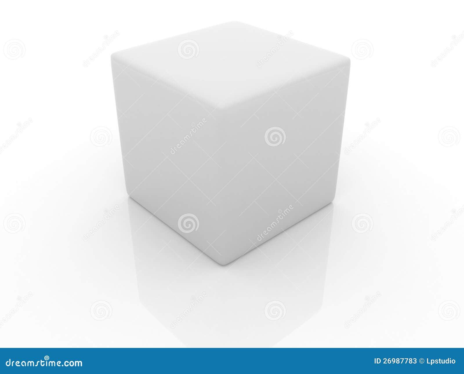 cube en blanc 3d illustration stock illustration du tiquette 26987783. Black Bedroom Furniture Sets. Home Design Ideas