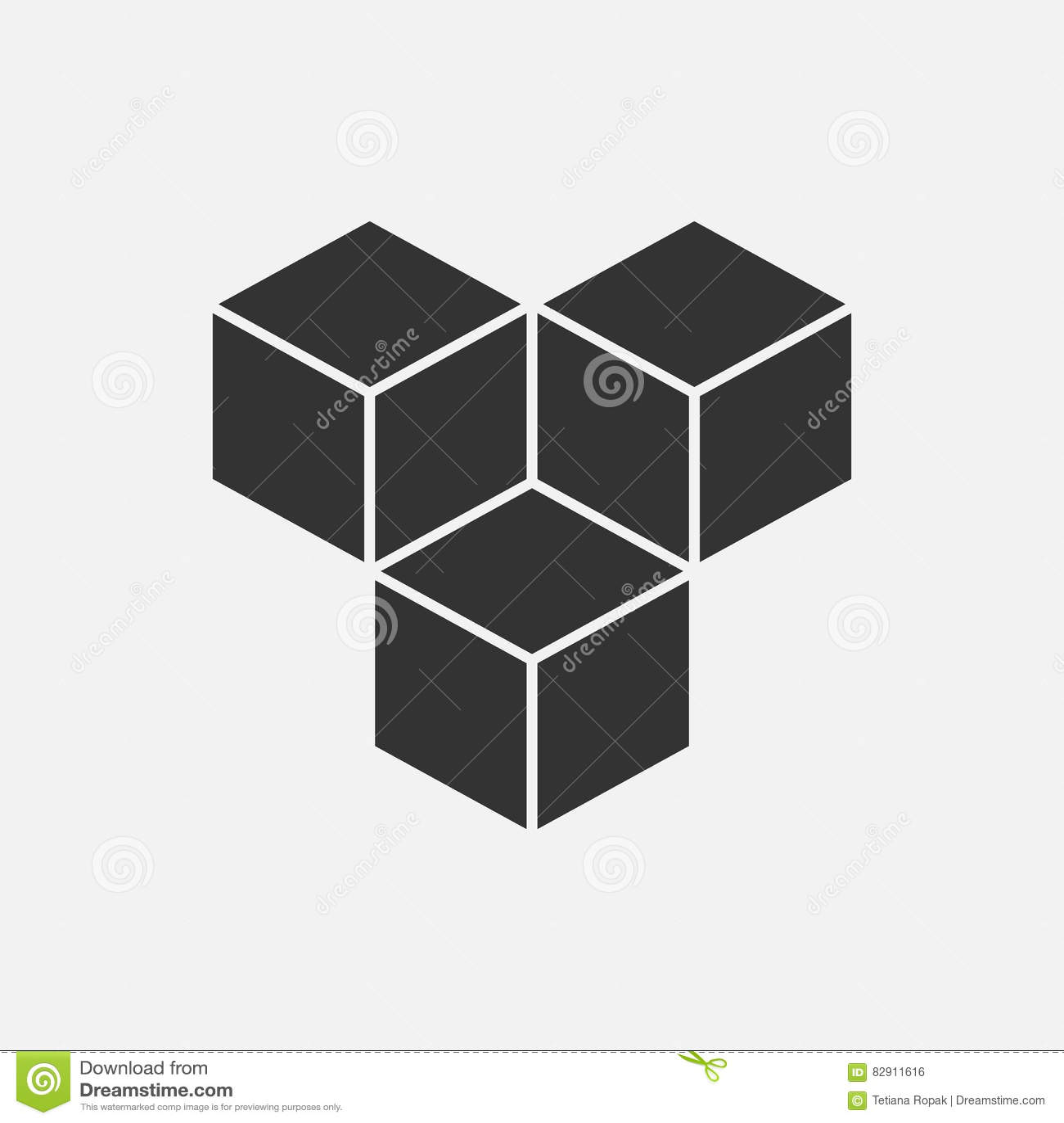 Cube o conceito isométrico do logotipo, ilustração do vetor 3d Estilo liso do projeto Construção do cubo Teste padrão do sinal Pr