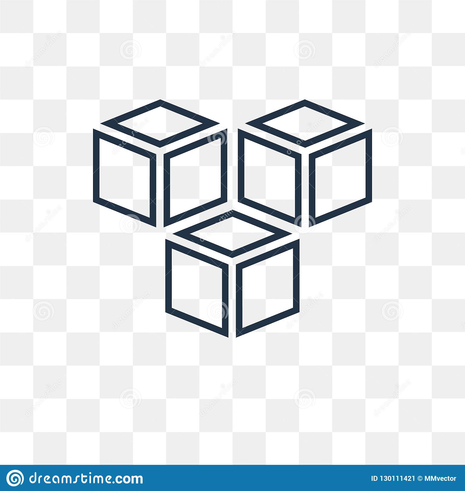 Cube Vector Icon Isolated On Transparent Background, Linear