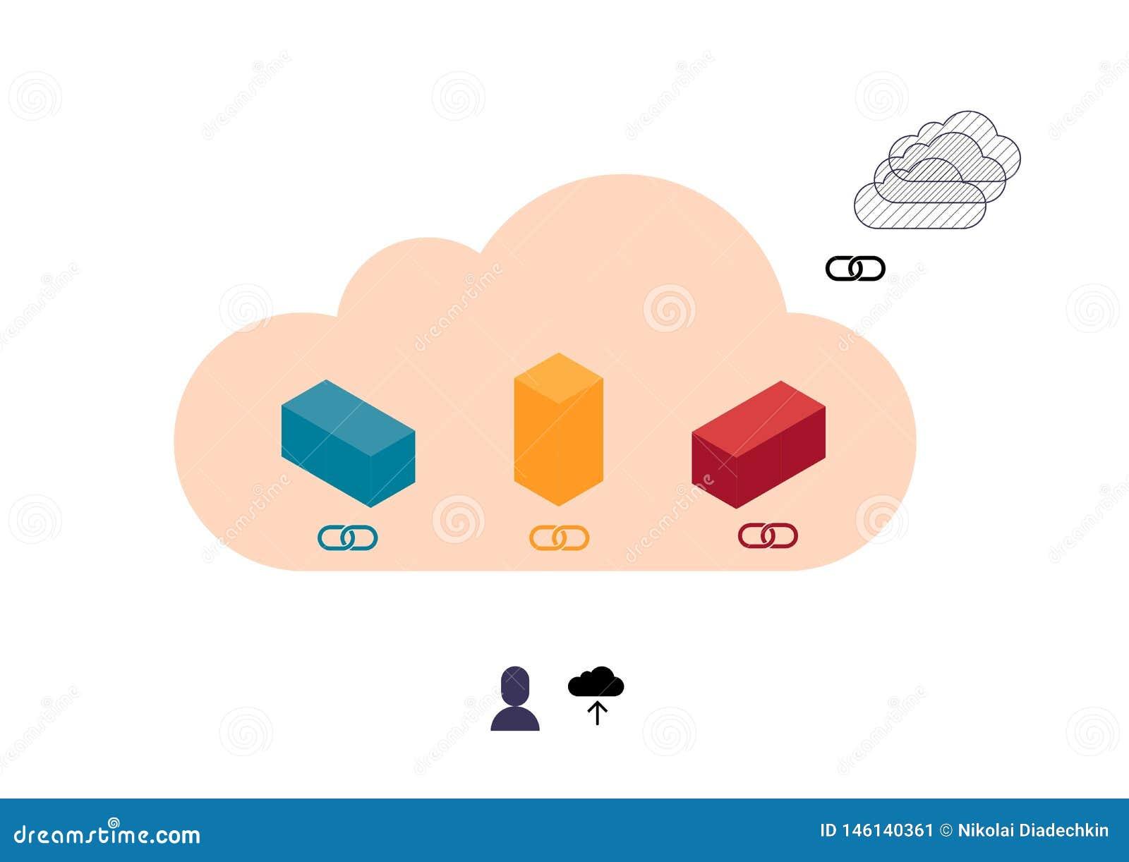 Cubes colorés abstraits téléchargeant en nuage