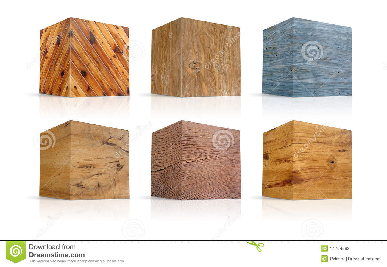 Cubes In Different Types Of Wood Stock Photos Image