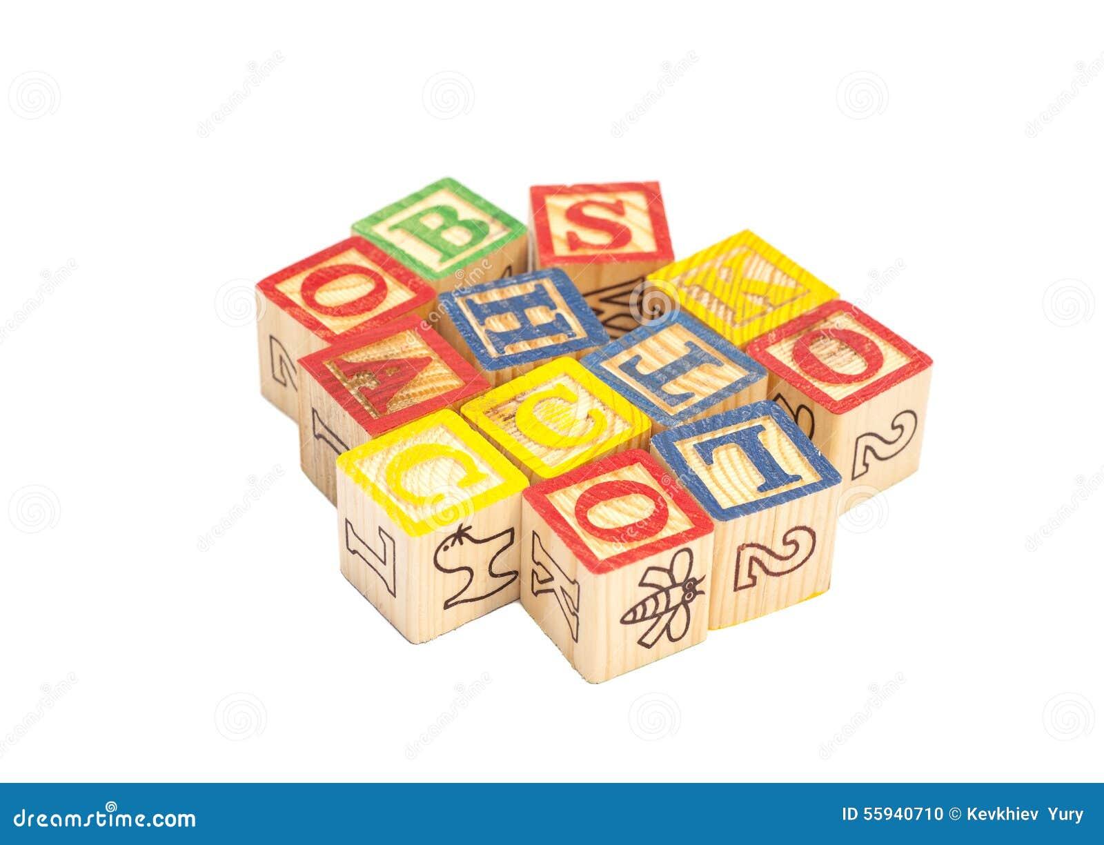 Cubes En Bois En Jouet Avec Des Lettres Blocs En Bois D