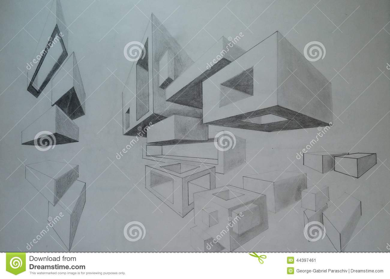 Two vanishing points perspective - cubes and 3d shapes pencil drawing