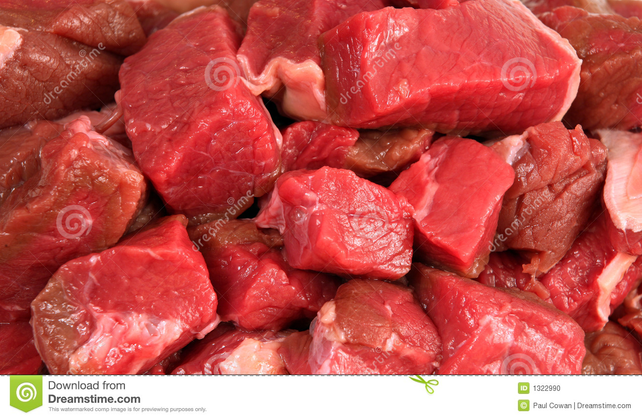 Cubes Of Raw Beef Stock Photo - Image: 1322990