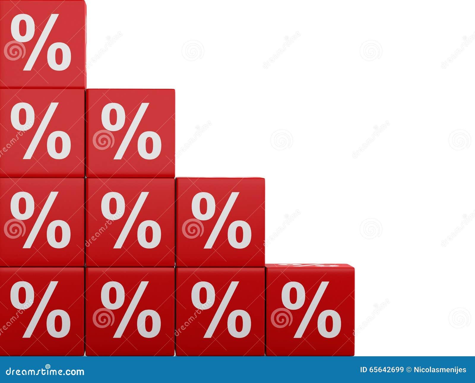 Cubes rouges en remise 3d Concept de vente - main avec la loupe