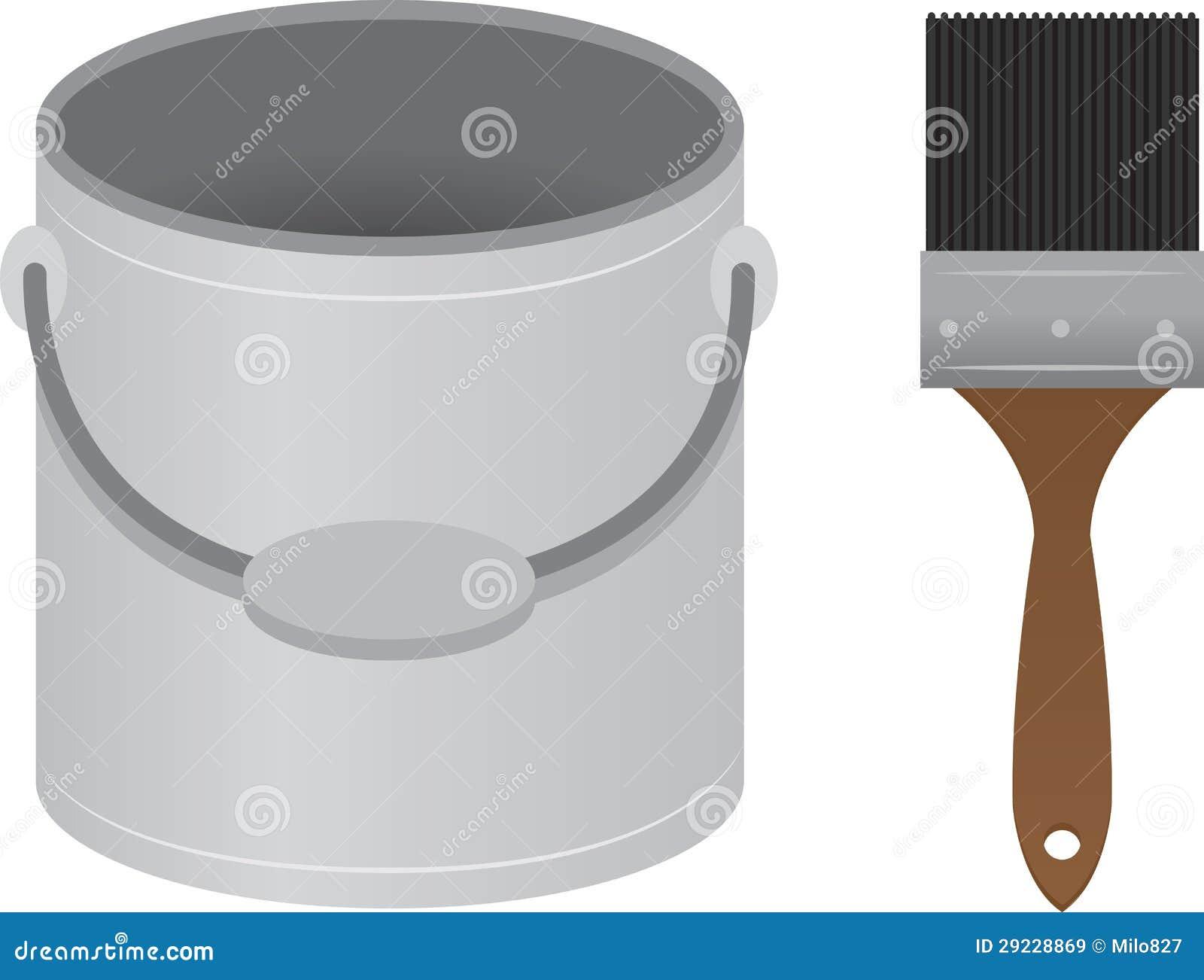 Download Cubeta Da Pintura Do Pincel Ilustração do Vetor - Ilustração de cinzento, acrílico: 29228869