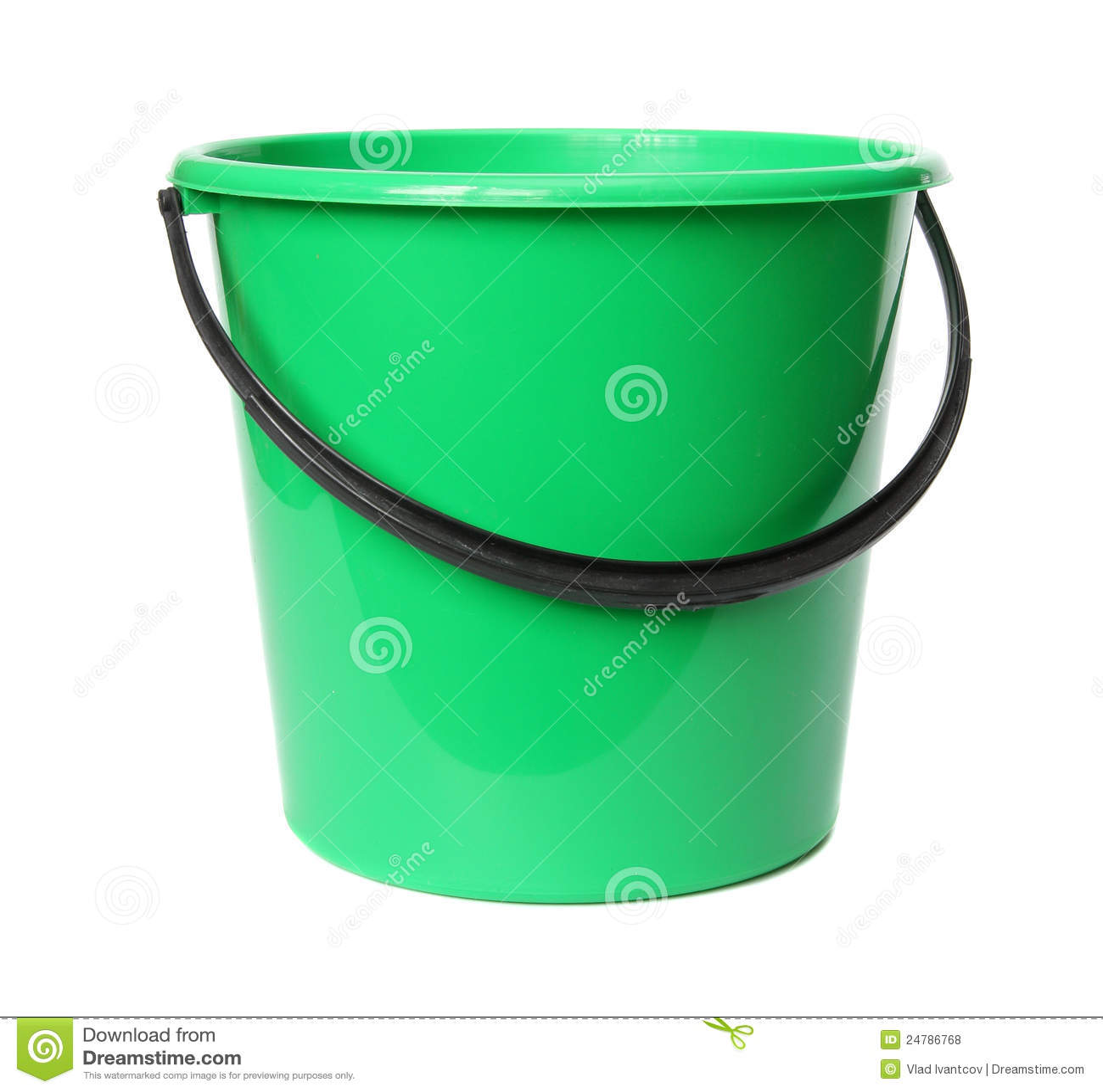 Cubeta plástica verde.