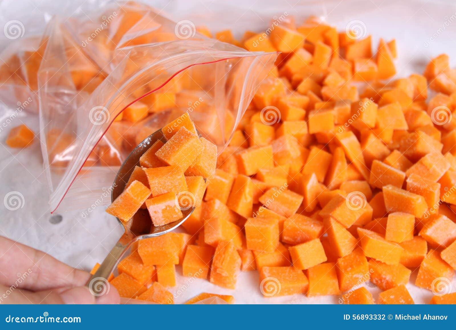 Cubi crudi della zucca in un cucchiaio