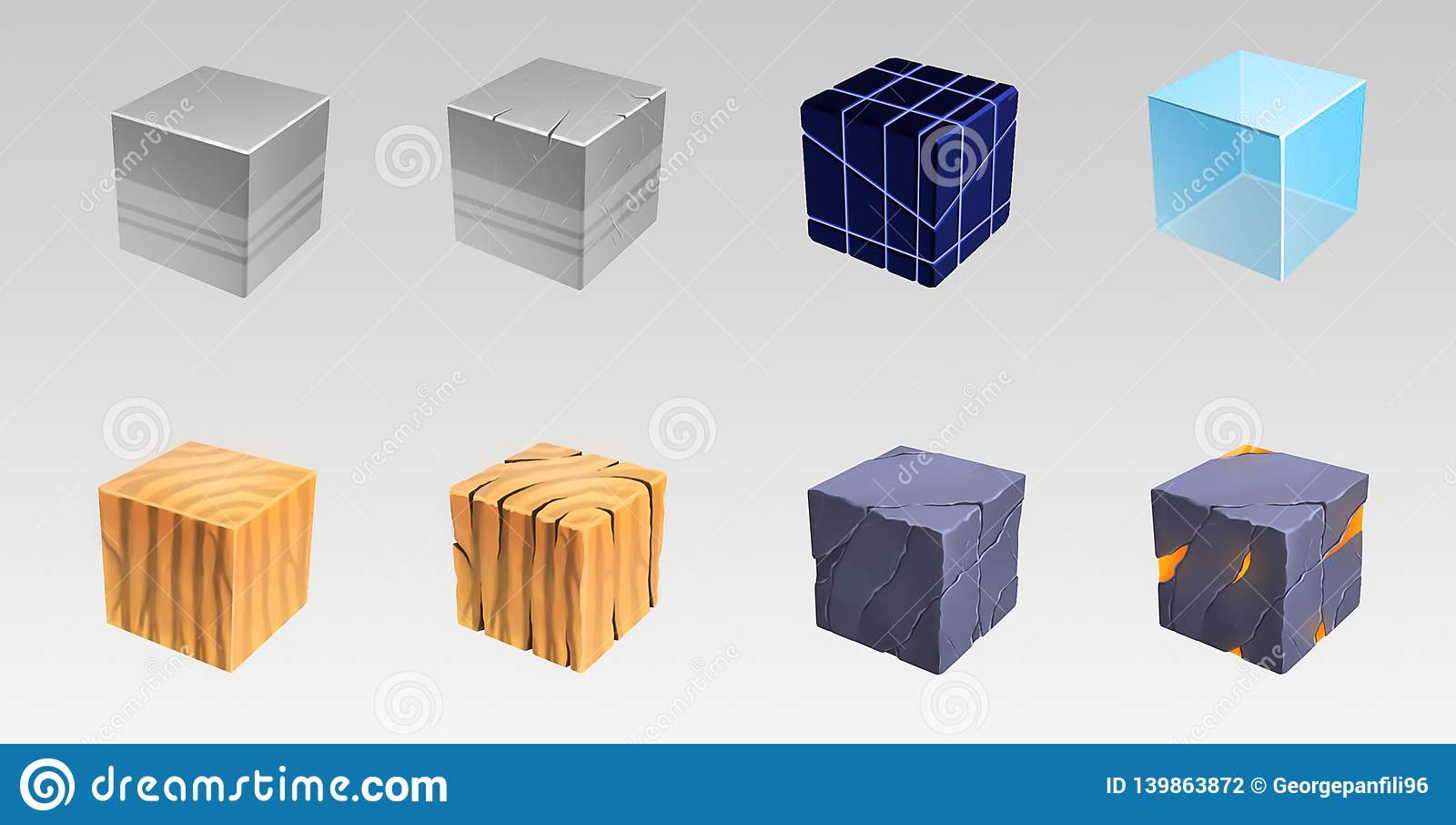 Cubi da molti materiali Illustrazione di arte