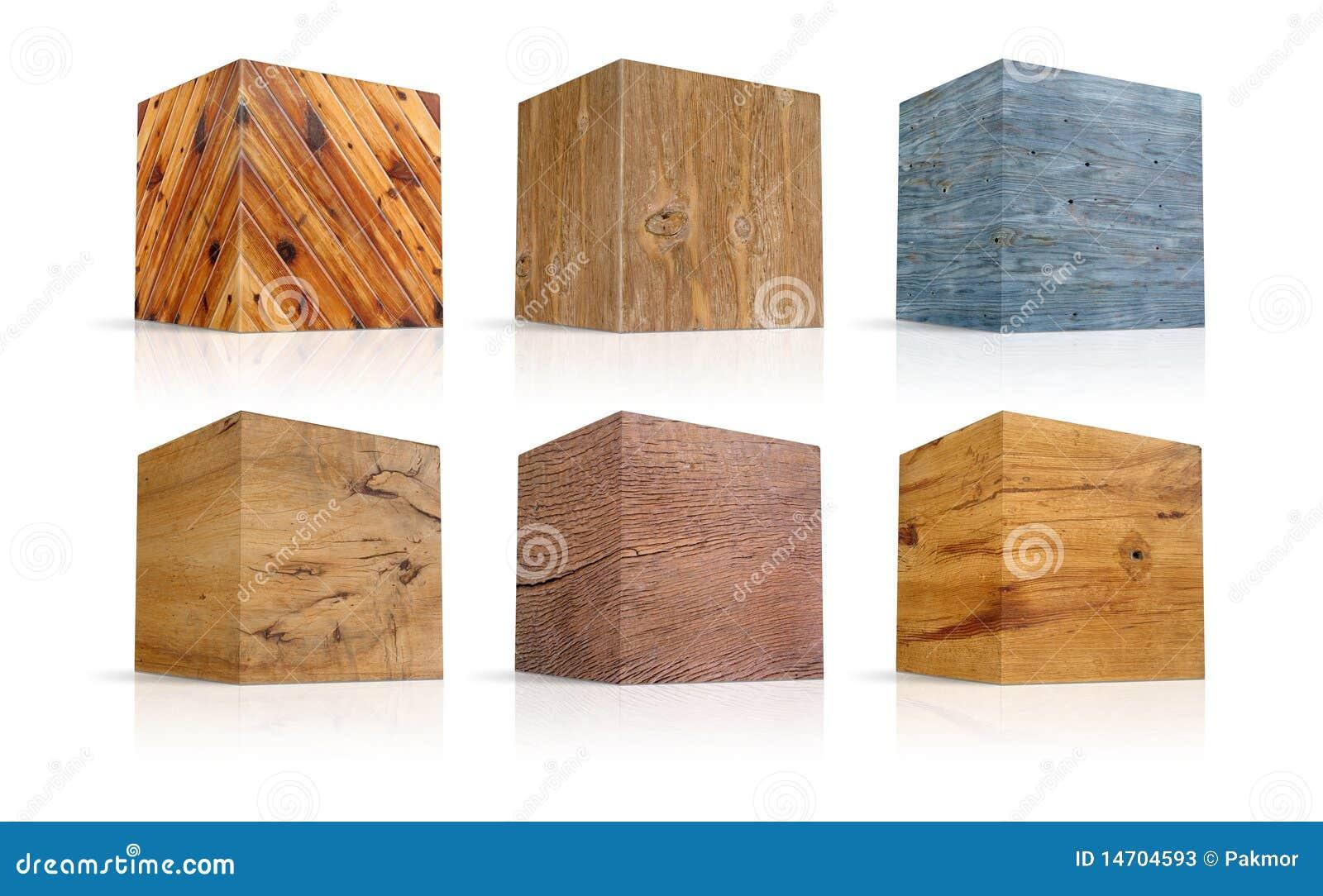 Cubi nei tipi differenti di legno illustrazione di stock for Cubi in legno per arredare