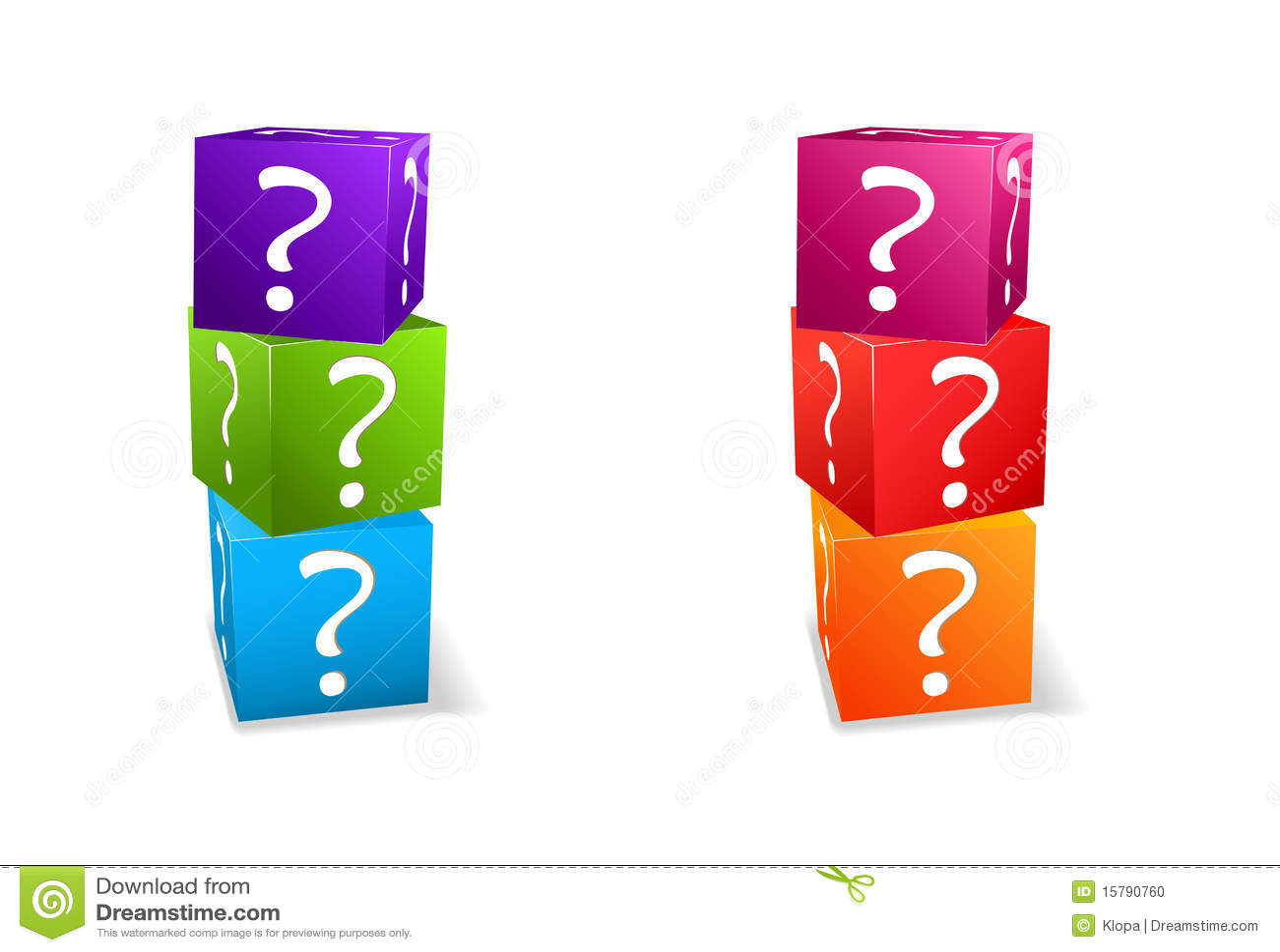 Cubi stabiliti dell icona con il punto interrogativo