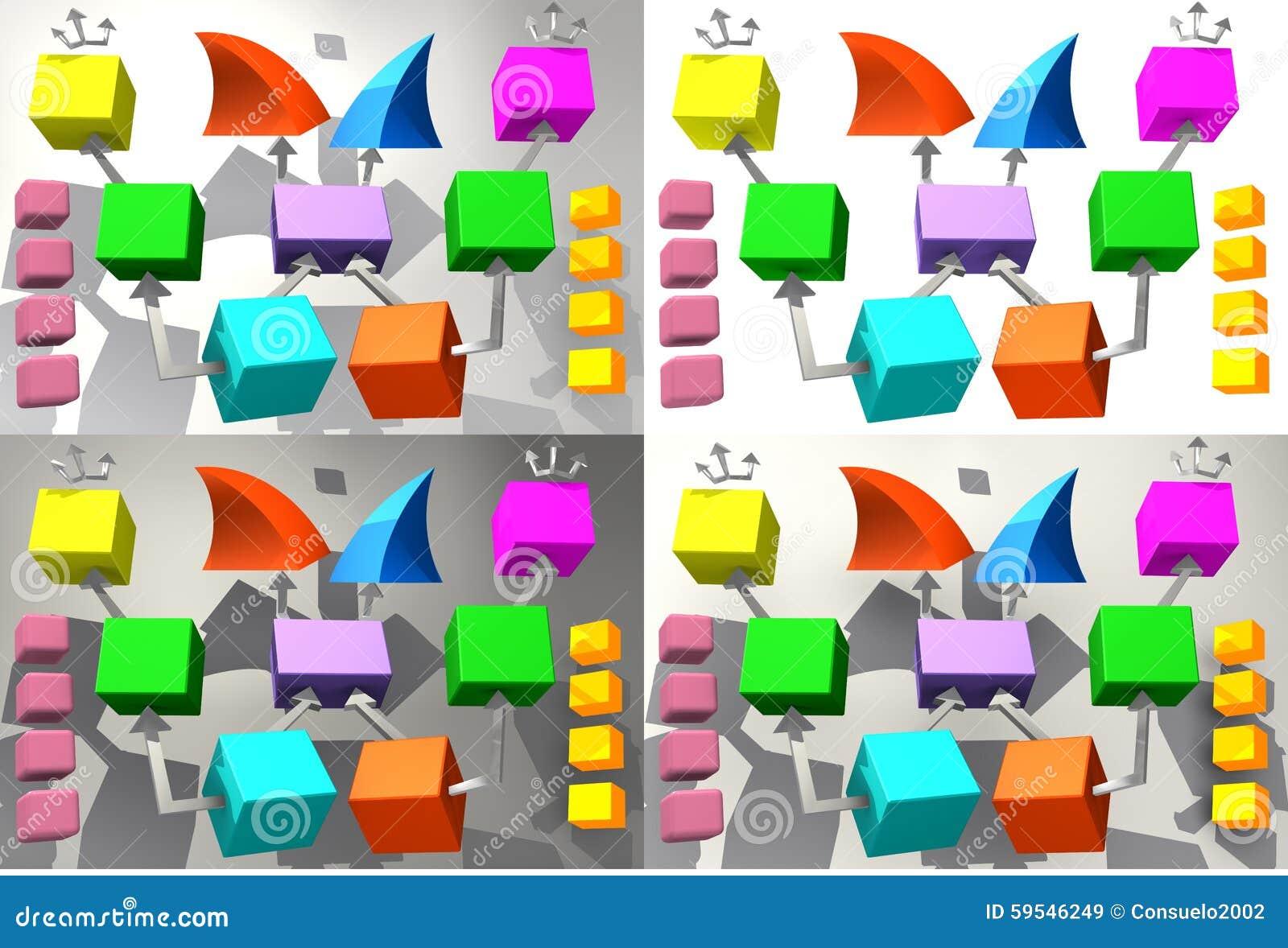Cubi variopinti con le frecce 3D
