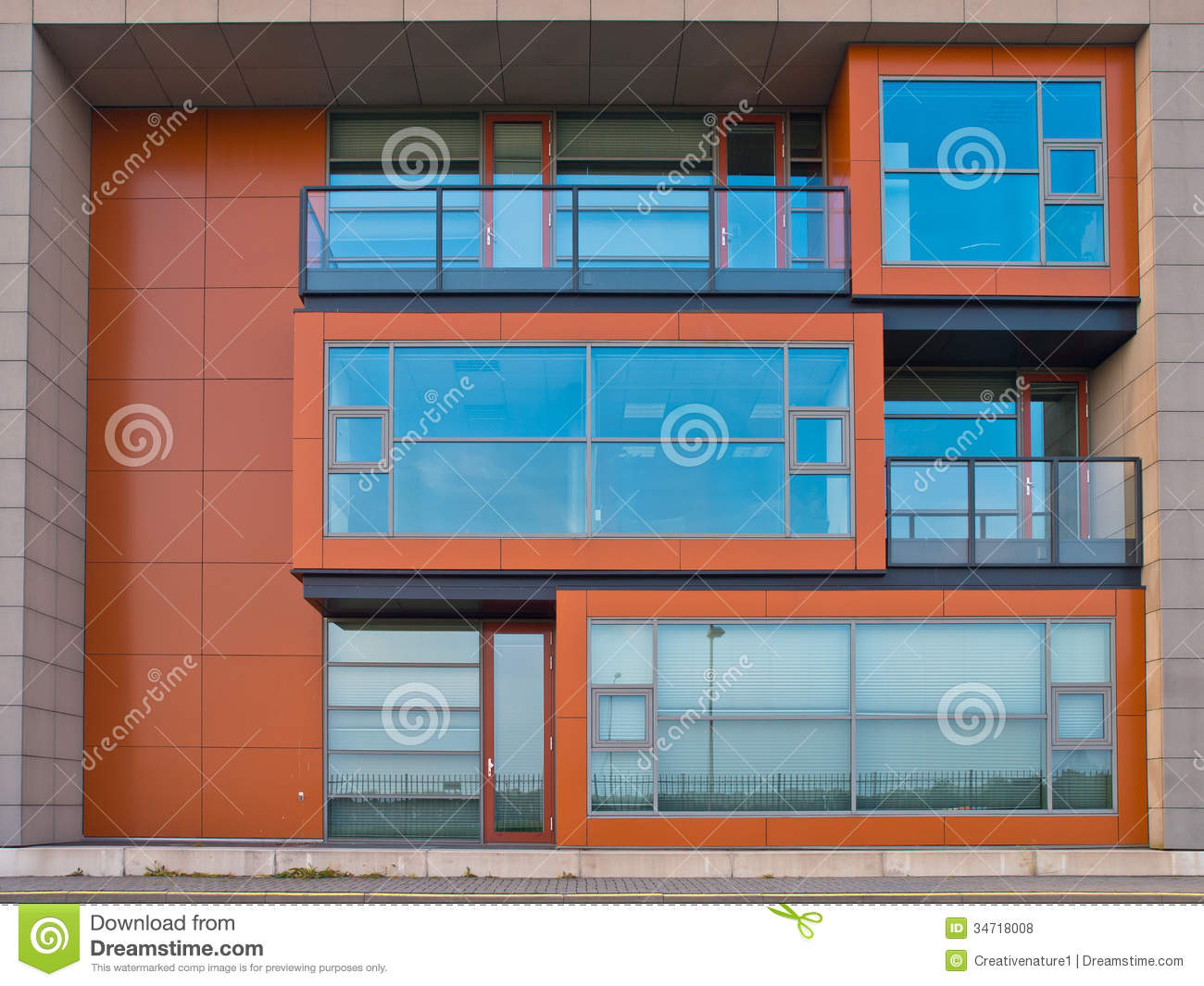 Cubic design office building exterior stock photo image for Modern office building exterior design