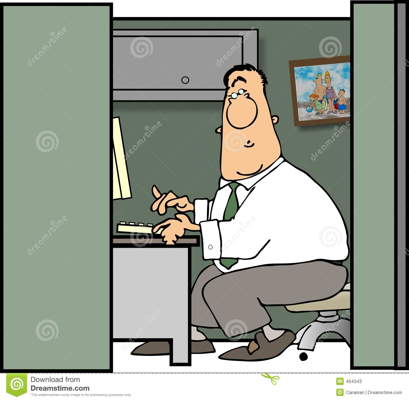 This illustration depicts a man working in a cubicle.