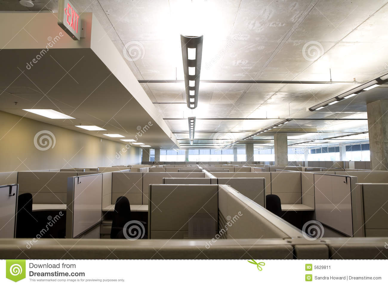 cubicles in clean modern office stock image image 5629811