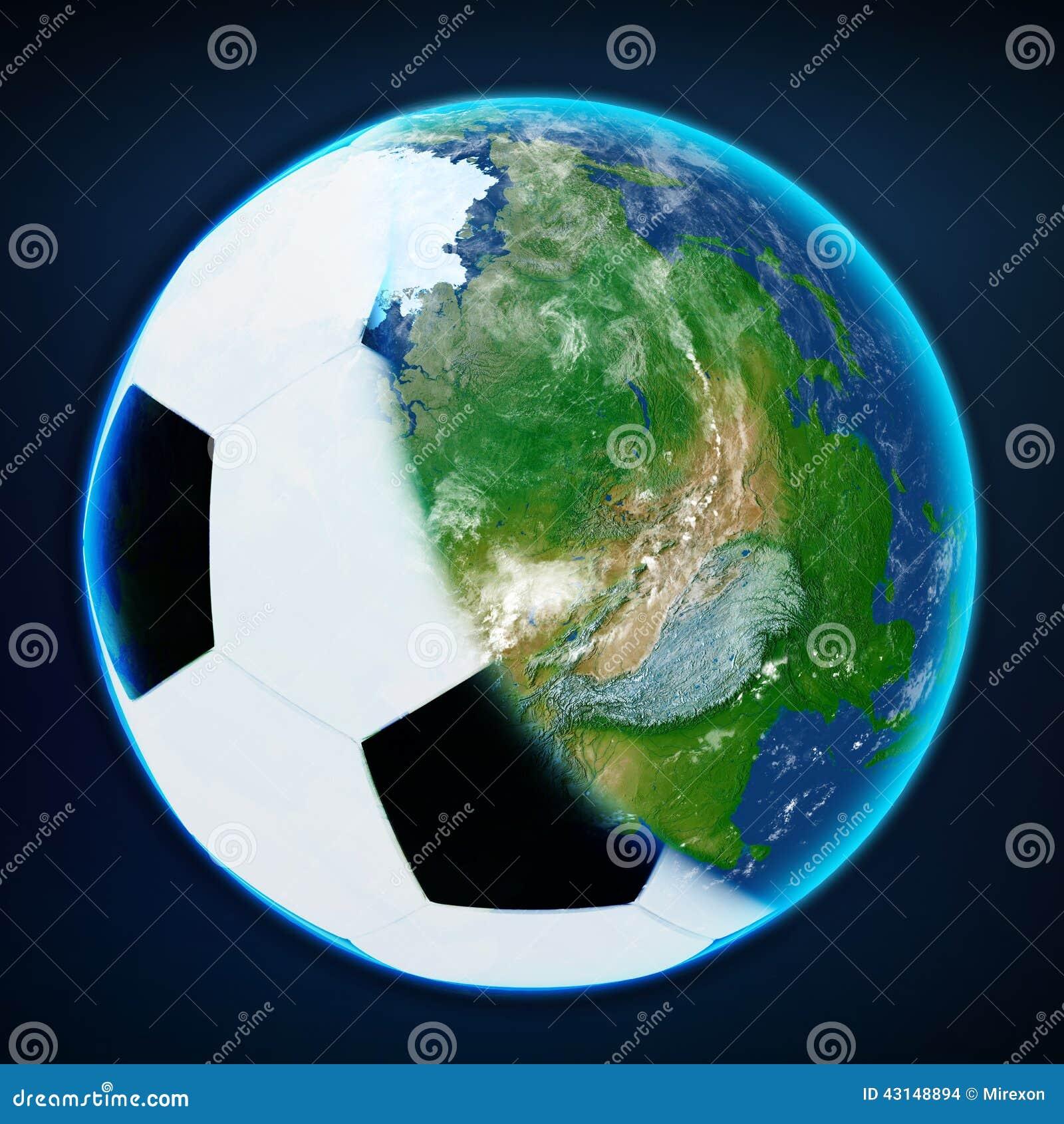 Cubierta De La Bola Del Fútbol La Tierra Del Planeta Se Divierte El ...