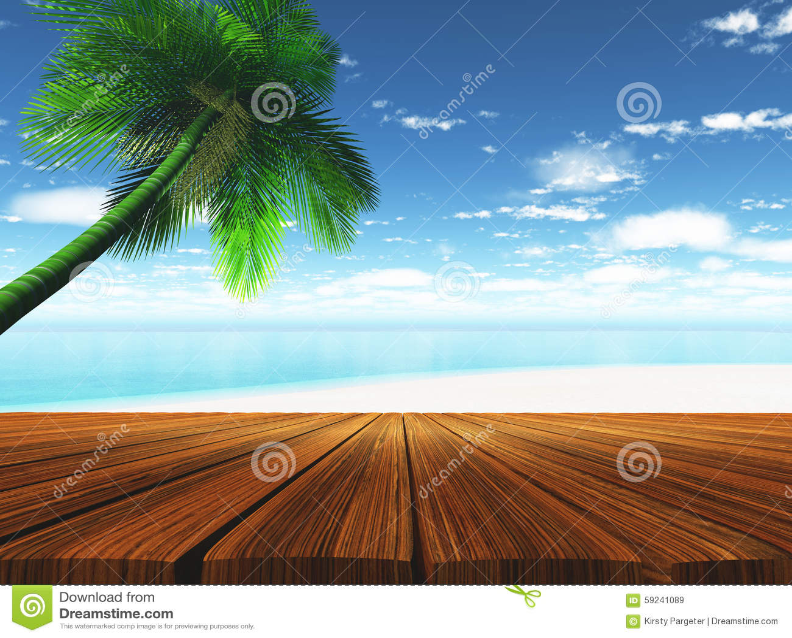 Cubierta de madera 3D con la playa tropical en fondo