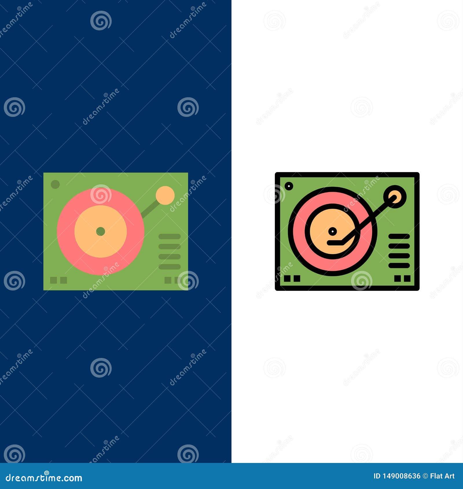 Cubierta, dispositivo, fonógrafo, jugador, iconos de registro El plano y la línea icono llenado fijaron el fondo azul del vector