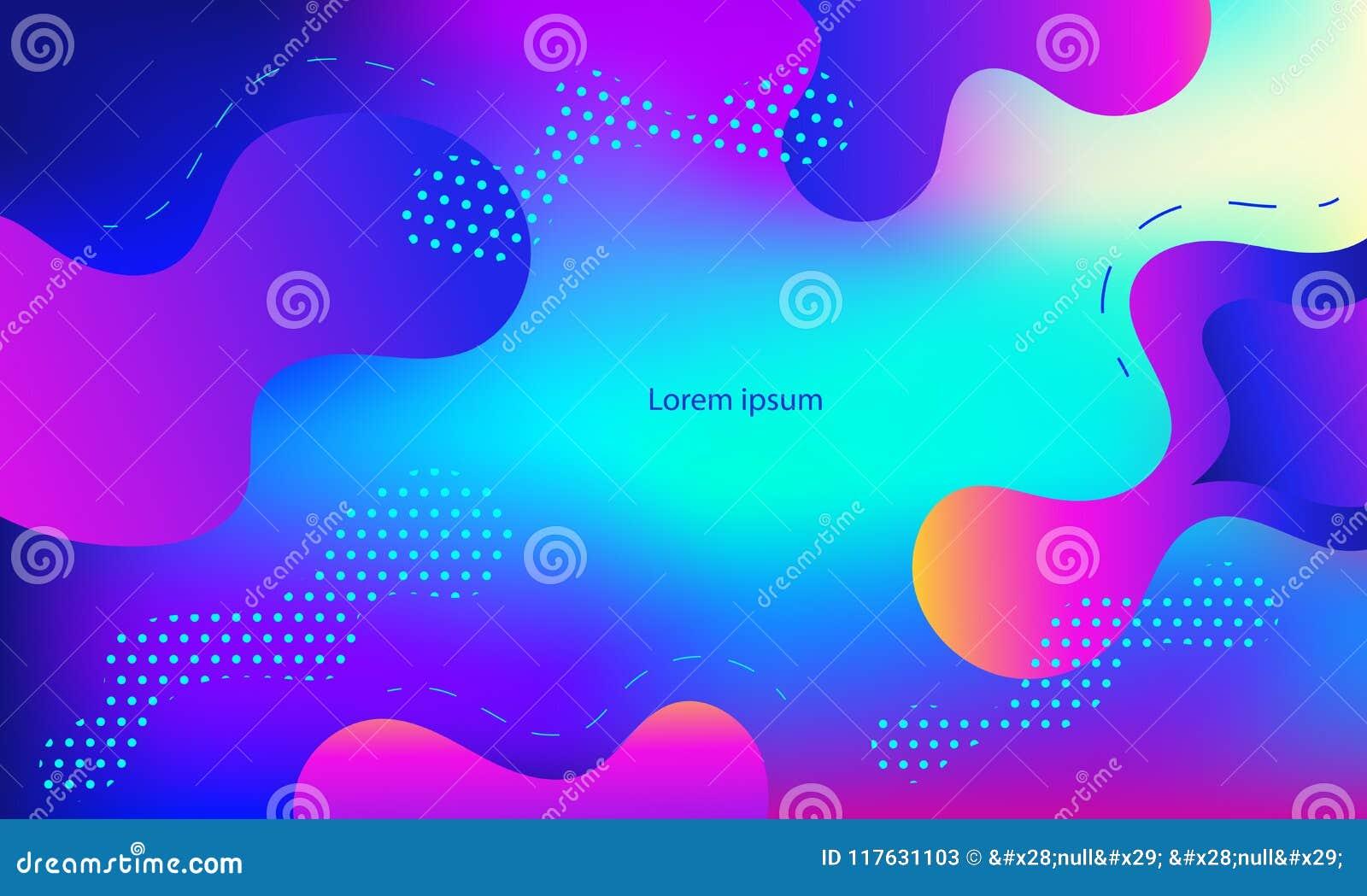 Cubierta geométrica La pendiente forma la composición Color azul de neón moderno fresco Formas flúidas abstractas Cartel líquido