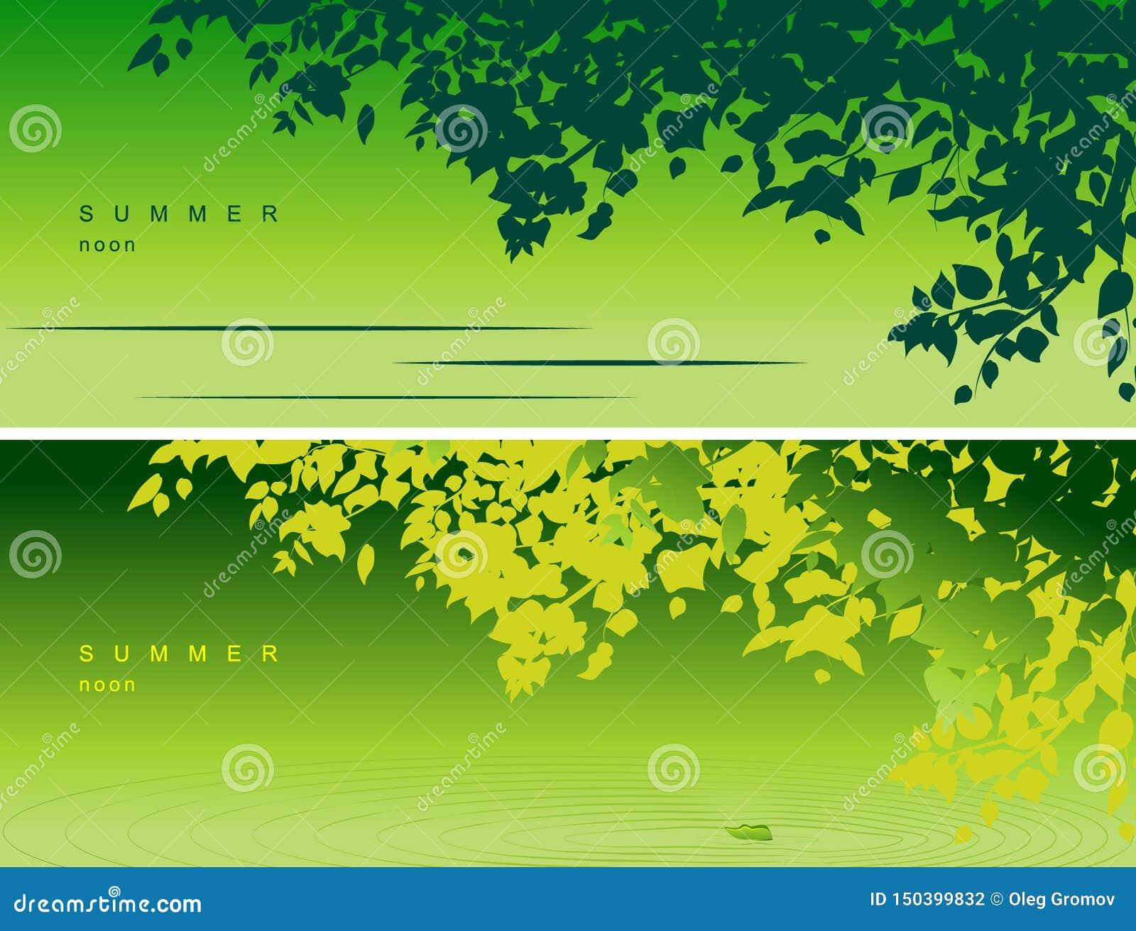 Cubierta para las redes sociales, jefe del vector con un humor del verano, con la imagen de la naturaleza