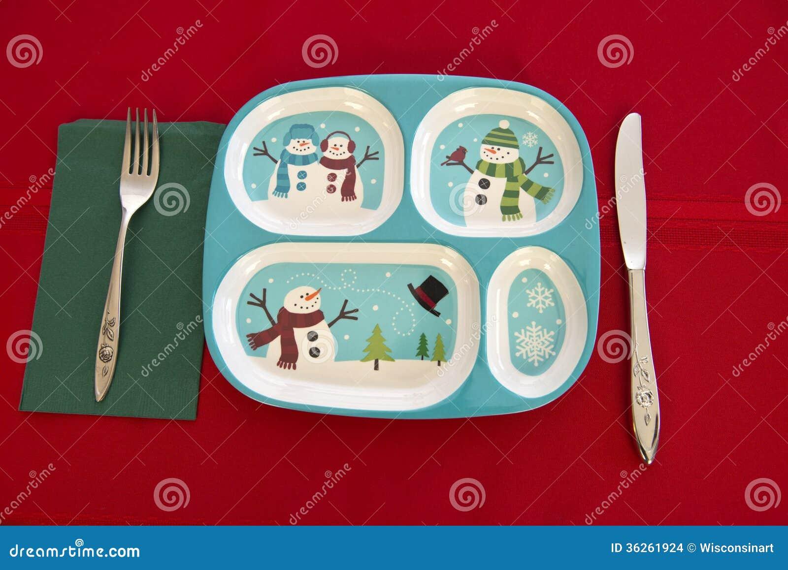 Cubierto divertido de la tabla de la Navidad de los niños del día de fiesta