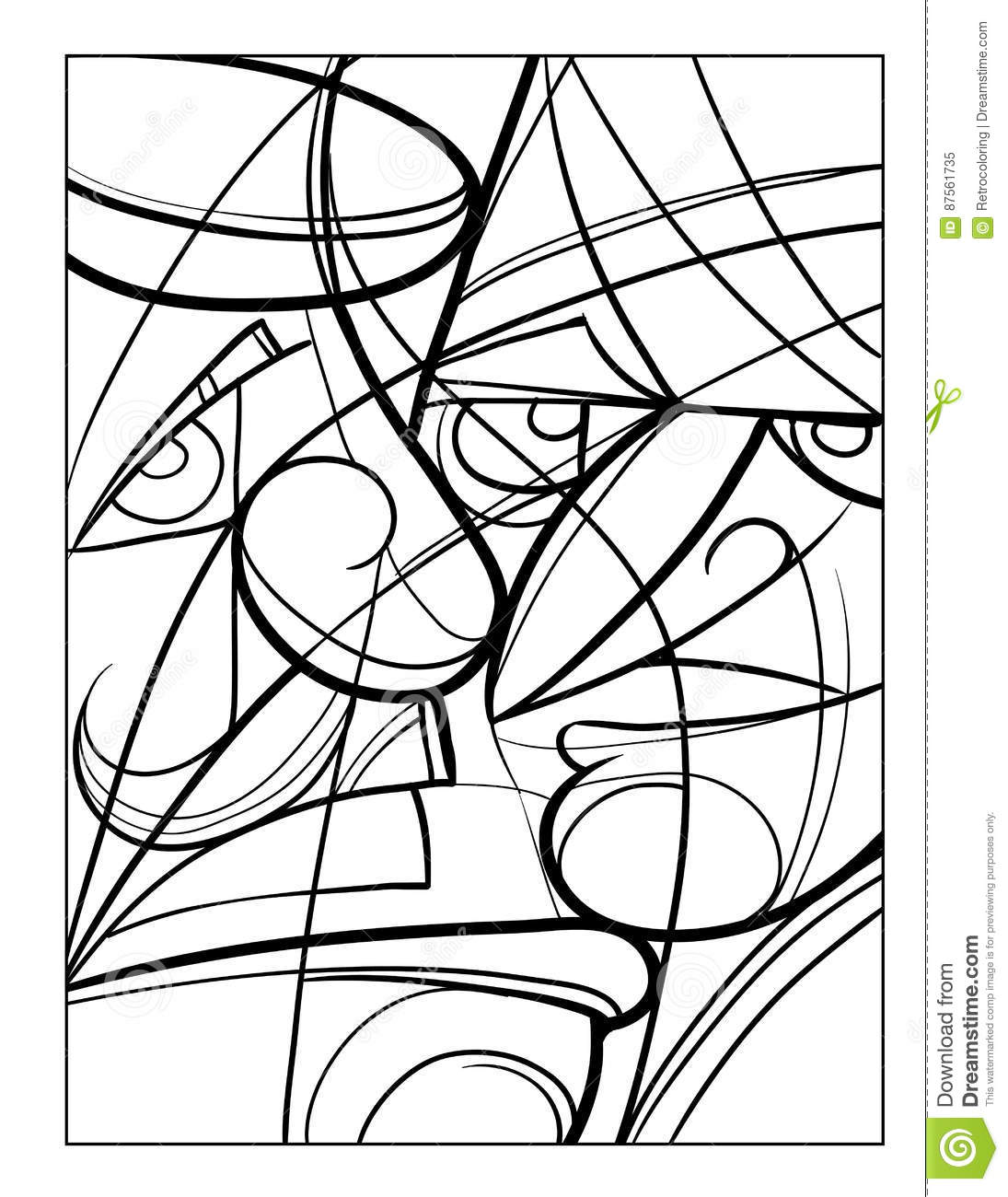 Cubist Faces Fun Coloring Page Stock Vector - Illustration of emoji ...