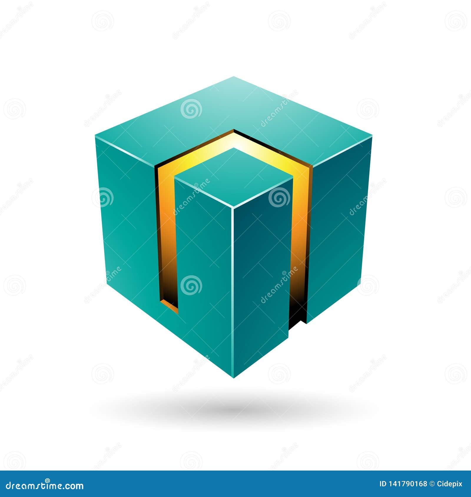 Cubo audace verde e giallo 3d