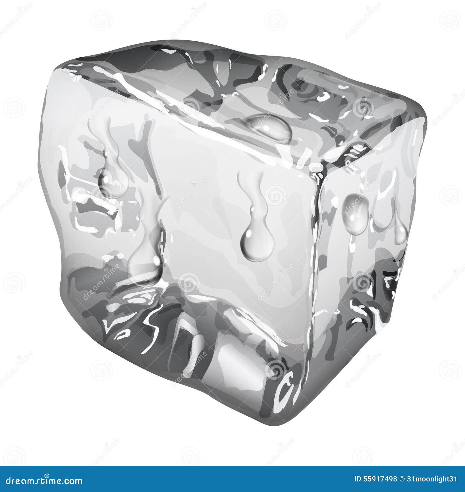 Cubo de gelo opaco com gotas da água