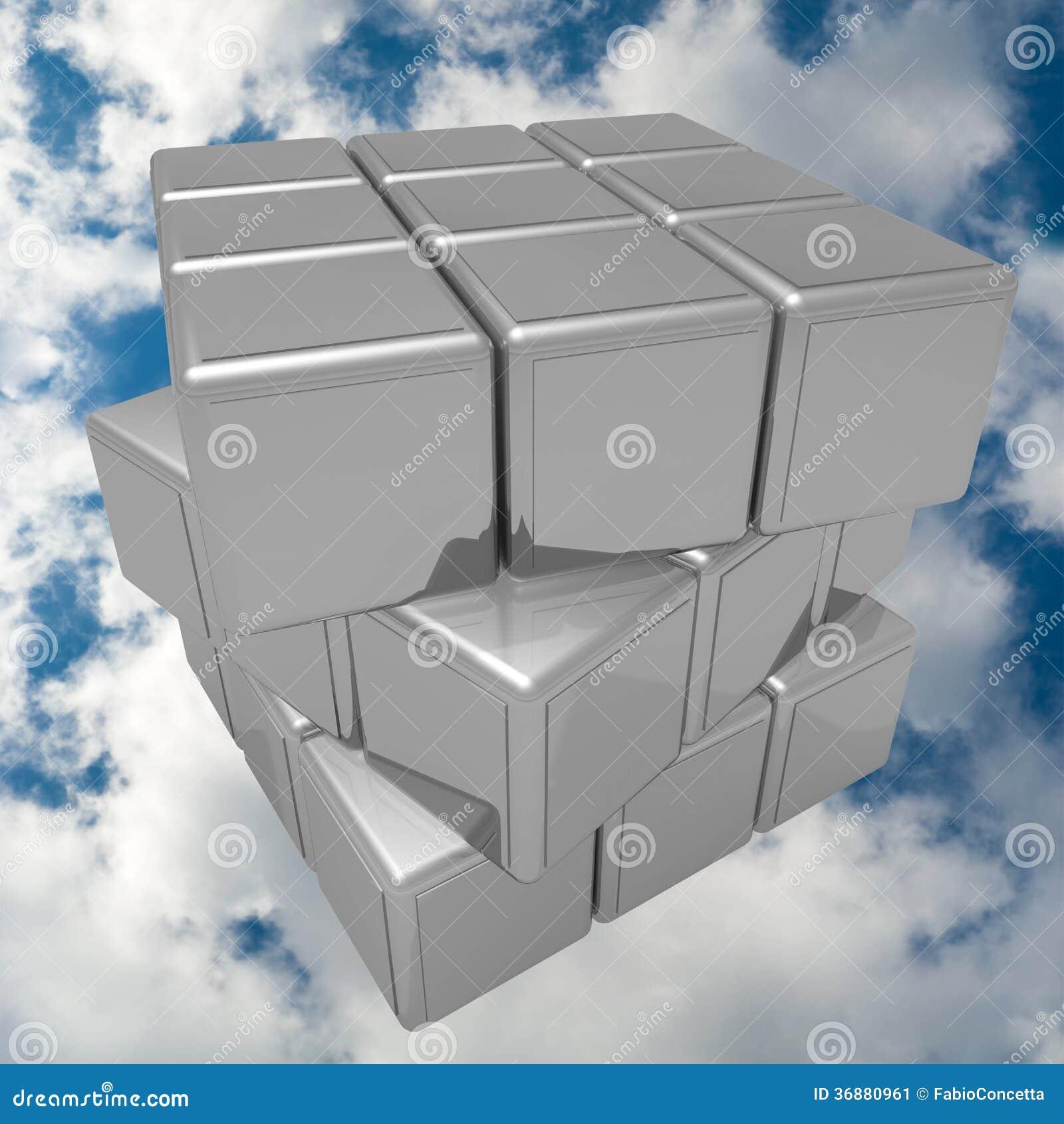 Download Cubo del metallo nel cielo immagine stock. Immagine di nubi - 36880961