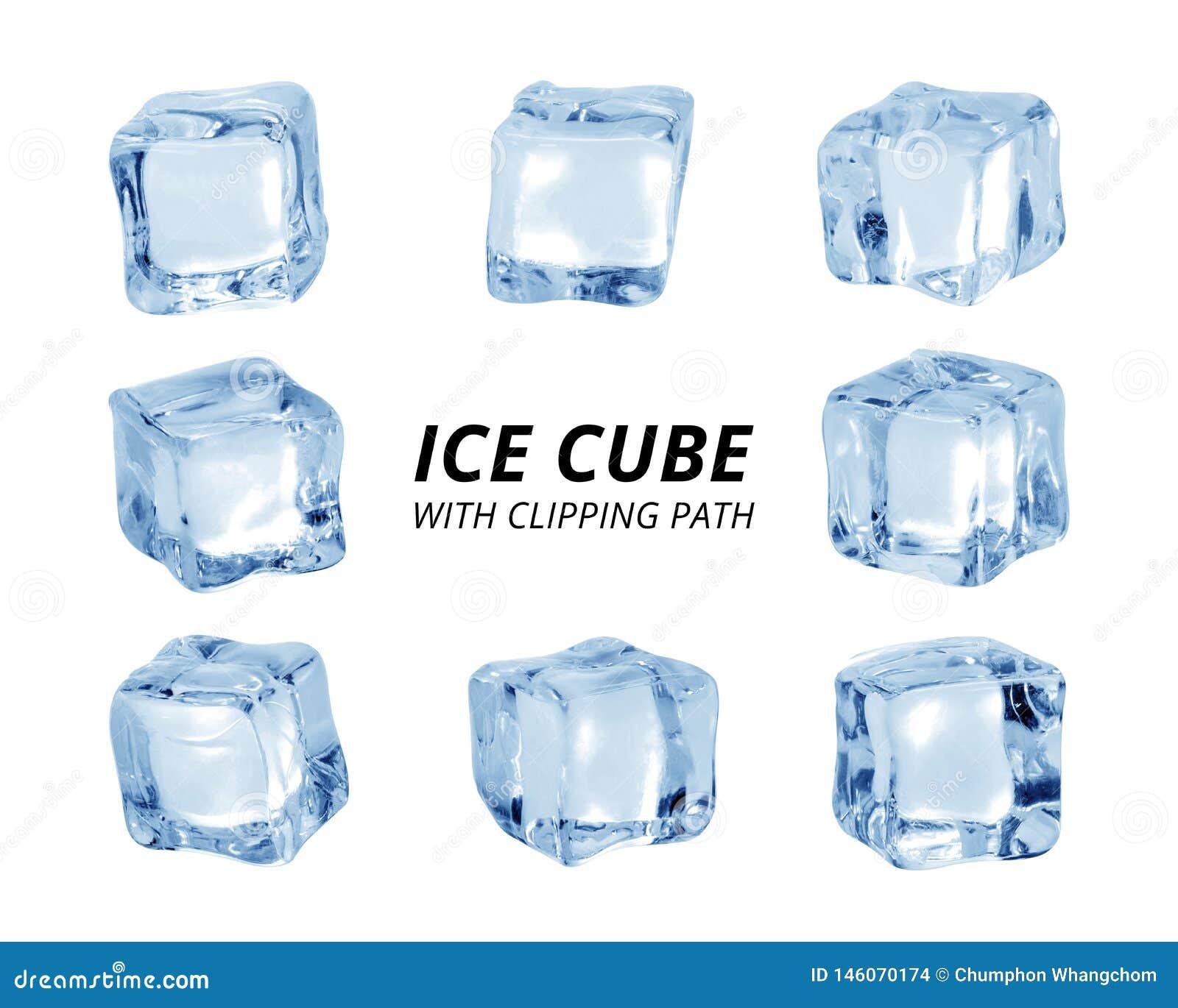 Cubo di ghiaccio isolato su priorit? bassa bianca Un pezzo di ghiaccio nella forma del blocco Percorso di ritaglio