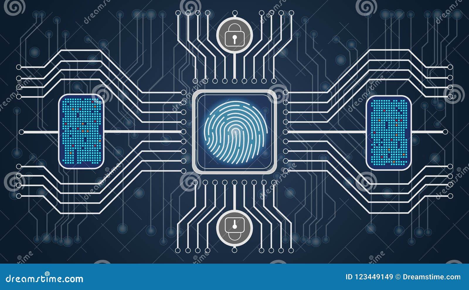 Cubo futuro Backgroub Confirmação biométrica do controle e da personalidade Esquema do controle das impressões digitais