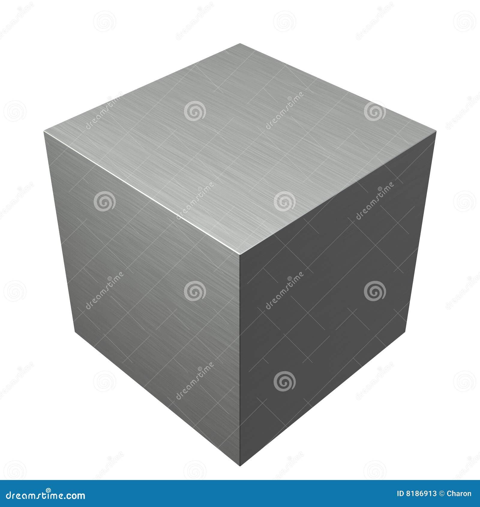 Cubo Di Ferro.Cubo Spazzolato Del Metallo Illustrazione Di Stock