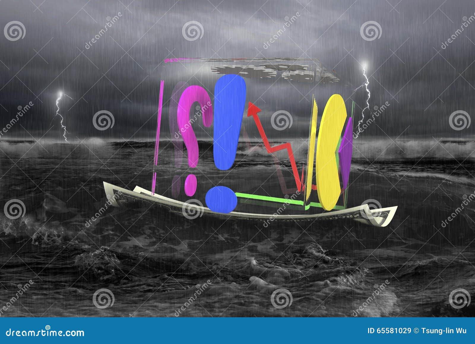 Cubo transparente de gráficos de negócio no barco do dinheiro com tempestade