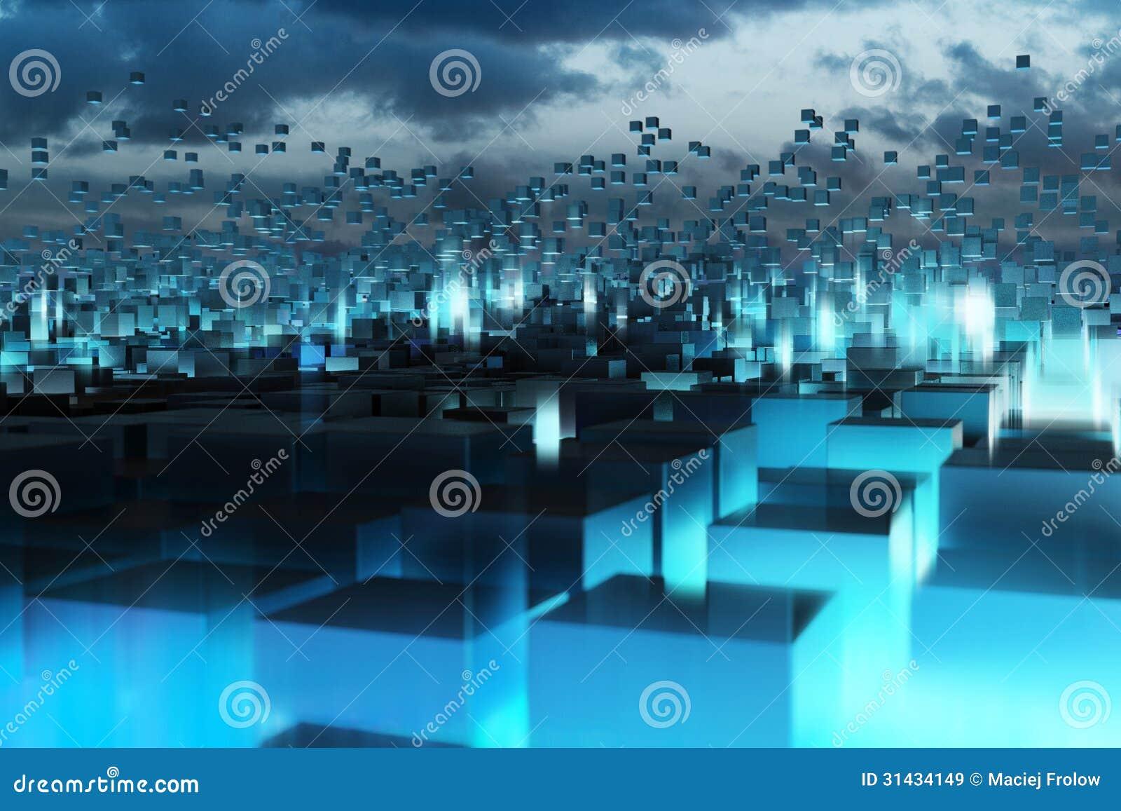 Cubos abstractos azules