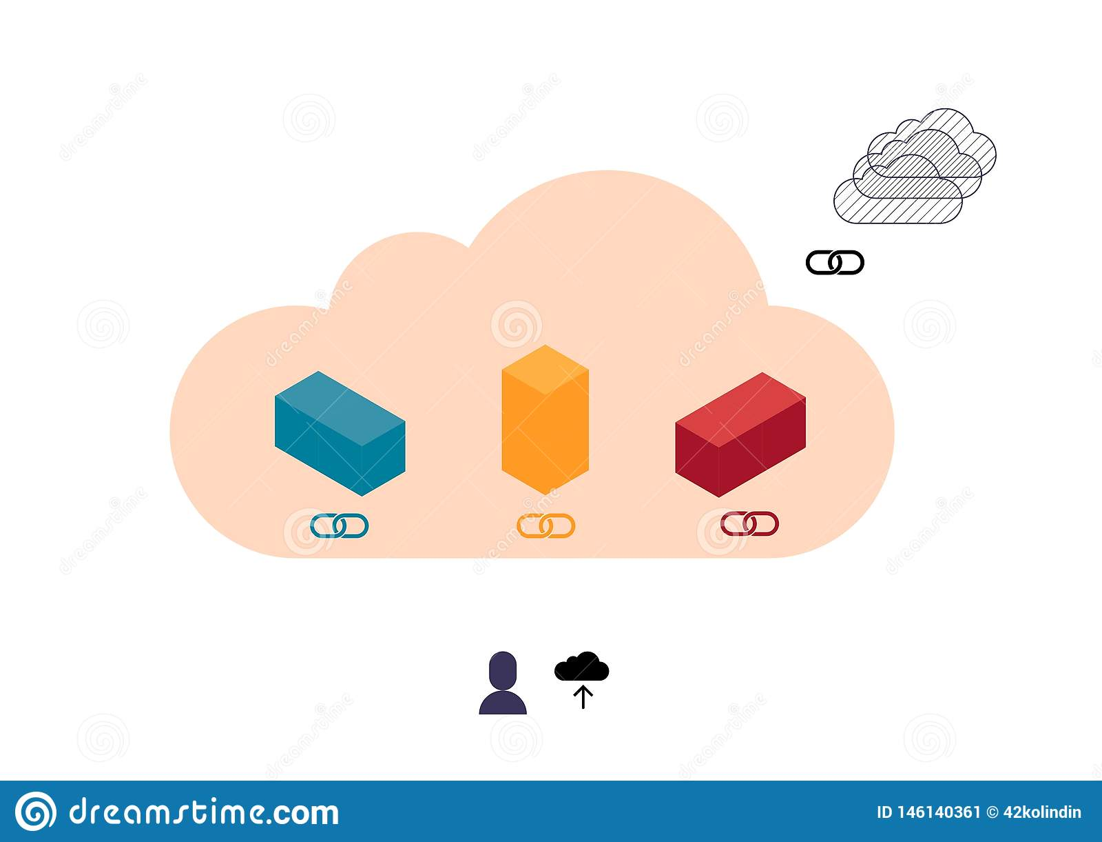 Cubos coloridos abstractos que cargan en nube