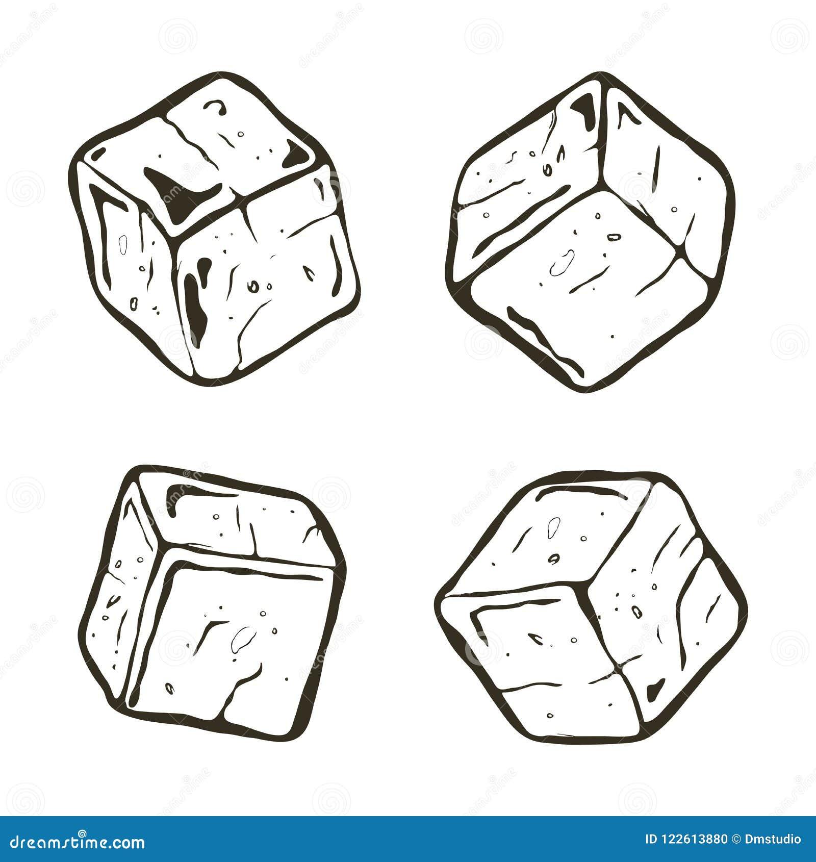 Cubos De Gelo Preto E Branco Do Vetor Ilustracao Do Vetor
